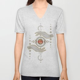 Moon phases with hands Unisex V-Neck