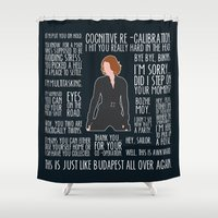 black widow Shower Curtains featuring Black Widow by MacGuffin Designs