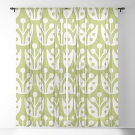 Mid Century Flower Pattern 5 Sheer Curtain