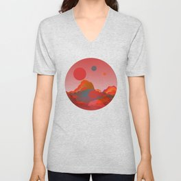 """""""Coral Pink Sci-Fi Mountains"""" Unisex V-Neck"""