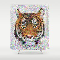 tiger Shower Curtains featuring Tiger by David Zydd - Colorful Mandalas & Abstrac