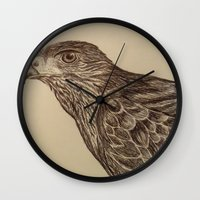 hawk Wall Clocks featuring Hawk by Leslie Creveling