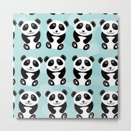 Panda pattern with cute animal on a blue background Metal Print