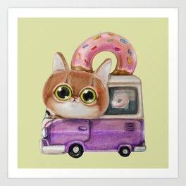 Cute cat driving a donut truck, well a van in fact Art Print