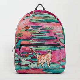 Ginger Cat amongst the Lily Pads on a Pink Lake Backpack