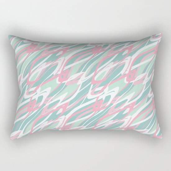 Abstract pink turquoise waves . Rectangular Pillow