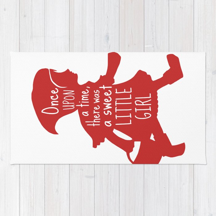 Once Upon a Time there was a Sweet Little Girl -Little Red Riding Hood Art Print  Rug