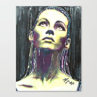kate moss Canvas Prints featuring kate moss by lisylight