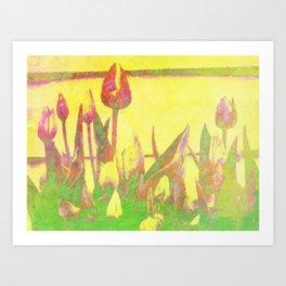 Tulips on Yellow Digital Art Art Print