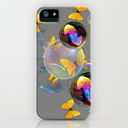 SURREAL YELLOW BUTTERFLIES & SOAP BUBBLES iPhone Case
