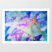 coldplay Art Prints featuring Chris Martin-Coldplay-Digital Impressionism by Sophie Grace