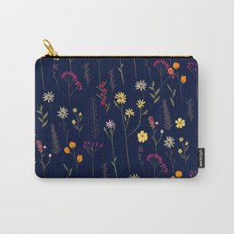 Hand drawn cute dried pressed flowers illustration navy blue Carry-All Pouch