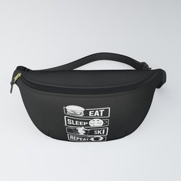Eat Sleep Ski Repeat - Skiing Winter Holidays Snow Fanny Pack