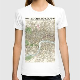 Whitbread's new plan of London: drawn from authentic survey (1853) by J. Whitbread T-shirt
