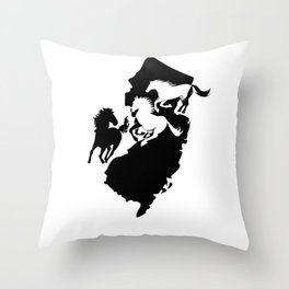 New Jersey State Horse Lover Black Throw Pillow