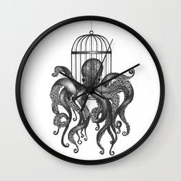 Octopus in a birdcage Wall Clock