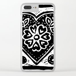 Heart Lino Print made with love Clear iPhone Case