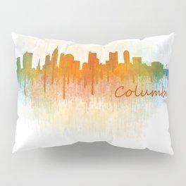 Columbus Ohio, City Skyline, watercolor  Cityscape Hq v3 Pillow Sham