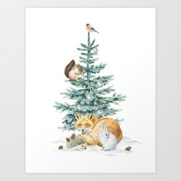 christmas tree in the forest Art Print