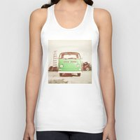 volkswagon Tank Tops featuring Vintage Volkswagen Bus (Green Edition) by Laura Ruth
