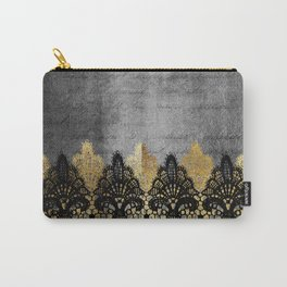 Pure elegance II - Luxury Gold and black lace on grunge dark background Carry-All Pouch