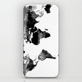 World Map  Black & White iPhone Skin
