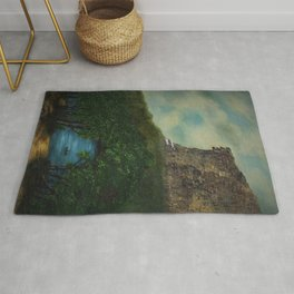 Old Man in the Mountain, Franconia Notch, White Mountains New Hampshire landscape painting Rug
