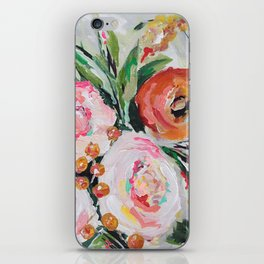 Boho pink and orange floral bouquet iPhone Skin