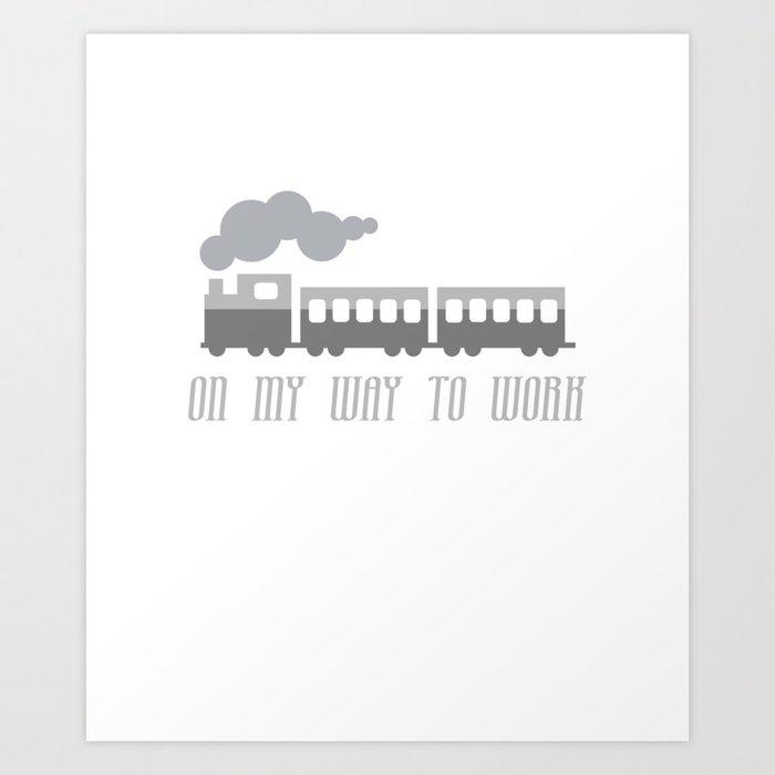 On My Way To Work - Commuter Retro Steam Train Art Print