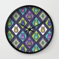 quilt Wall Clocks featuring Scarabs Quilt by Vannina