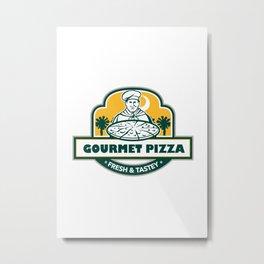 Gourmet Pizza Chef Palmetto Trees Shield Retro Metal Print