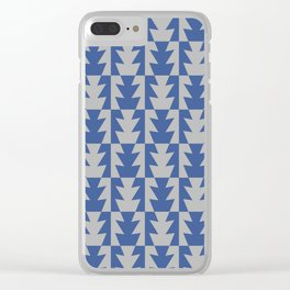 Art Deco Jagged Edge Pattern Blue and Gray Clear iPhone Case