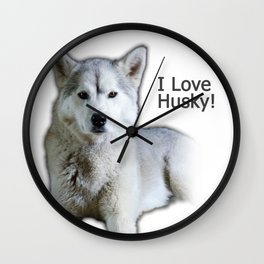 I love Husky Wall Clock