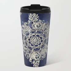 Cream Floral Moroccan Pattern on Deep Indigo Ink Metal Travel Mug
