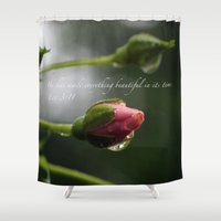 scripture Shower Curtains featuring Pink Rosebud with scripture. by The Time Catcher