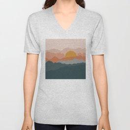 Minimal abstract sunset mountains Unisex V-Neck