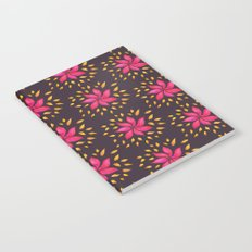 Whimsical Watercolor Floral Pattern In Pink And Purple Notebook