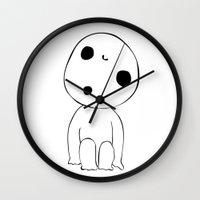 kodama Wall Clocks featuring Kodama  by Kafka's Closet
