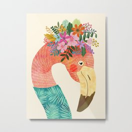 Pink Flamingo Wild Bird Metal Print