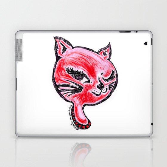 Winking Kitty Red Laptop & iPad Skin