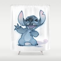 stitch Shower Curtains featuring Stitch by Belén Ortega