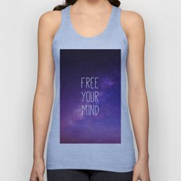 Free Your Mind, Quote, Blue Purple Night Sky, Universe Unisex Tank Top