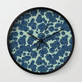 Dark Blue Sketchy Roses Wall Clock