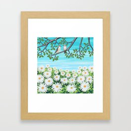 red bellied woodpeckers and daisies Framed Art Print
