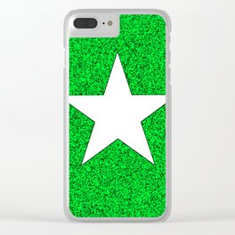 white star on green and black abstract background Clear iPhone Case