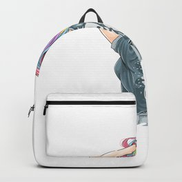 Girl Unicorn Full Color Hair With Rocker T Shirt Artwork Backpack
