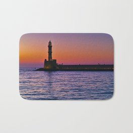 Sunset at the port of Chania, in Crete island Greece. Bath Mat