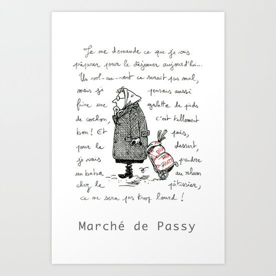 A Few Parisians: Marché de Passy by David Cessac Art Print
