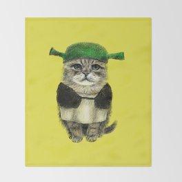 Shreky Cat Throw Blanket
