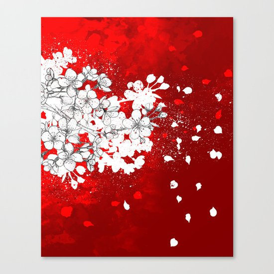 Red skies and white sakuras Canvas Print
